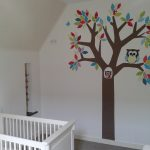 muurdecoratie behangboom uilen behang babykamer kinderkamer