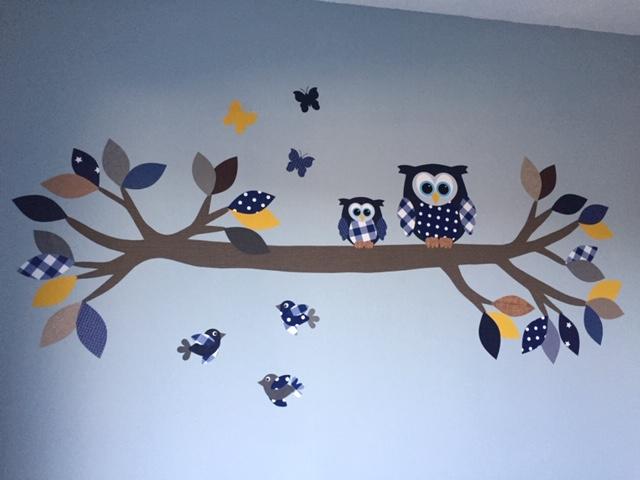 Behangdecoratie mintgroen behangboom met naam letters zwangerschap babykamer inrichting muurdecoratie behangtak uil