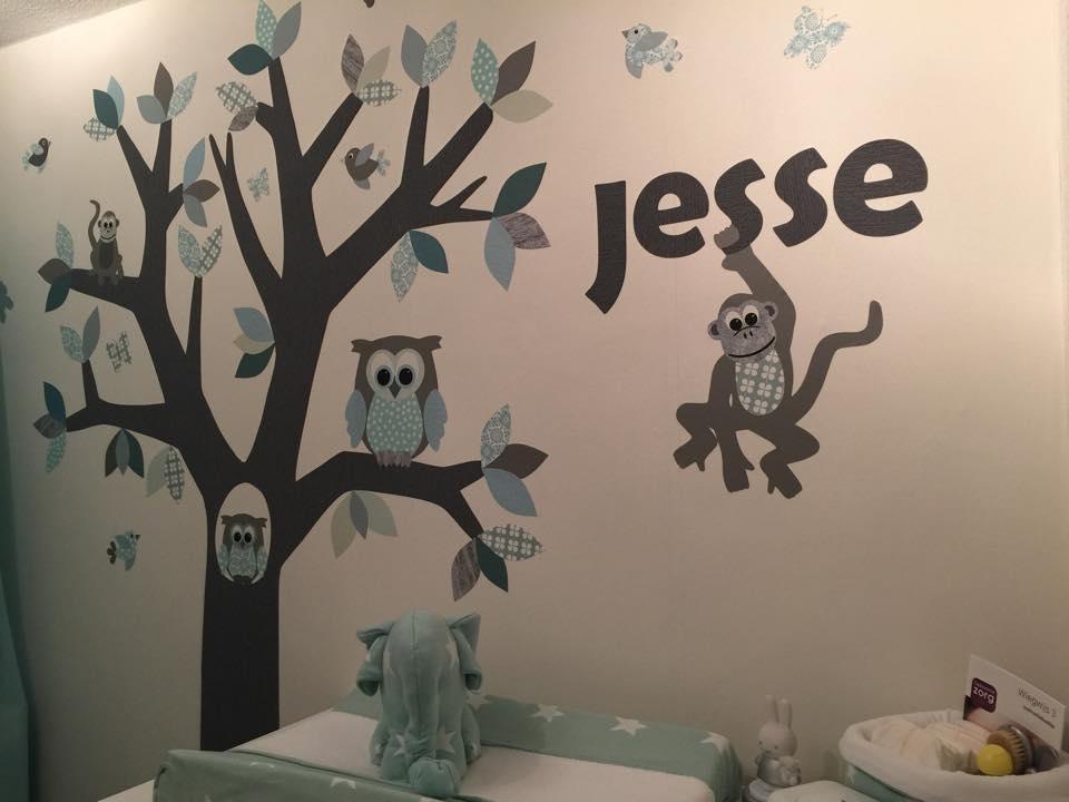 Naamletters van behang persoonlijk lettertype muurdecoratie babykamer