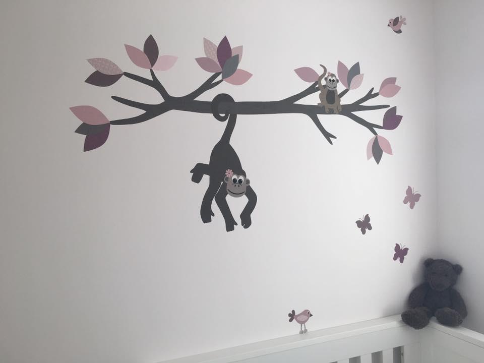 vrijhangende behangtak muurdecoratie kinderkamer baby handmade behang