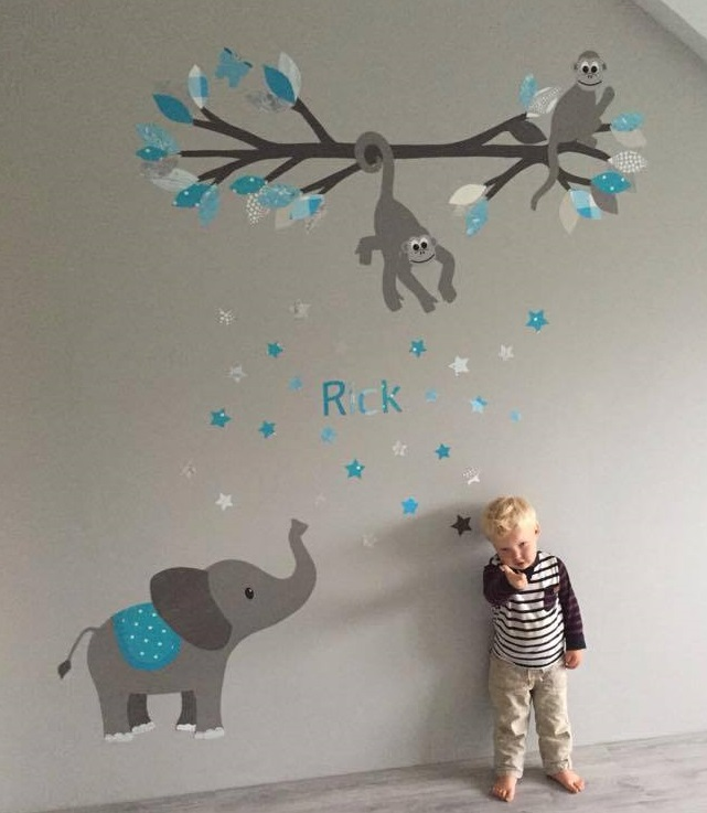 Apen behangtak behang kinderkamer muurdecoratie babykamer behang baby