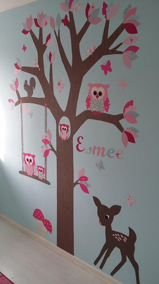 vogeltjes muurdecoratie behangboom behangtal uil behang babykamer
