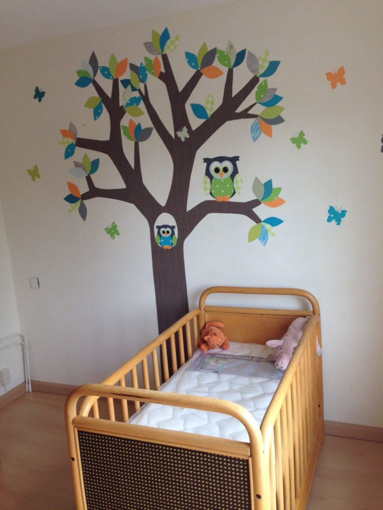 Behangboom muurdecoratie babykamer kinderkamer behang baby