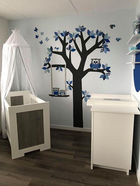 Behangdecoratie mintgroen behangboom met naam letters zwangerschap babykamer inrichting muurdecoratie