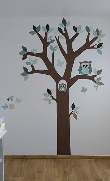 behangboom uilen van behang muurdecoratie kinderkamer babykamer behang handgemaakt