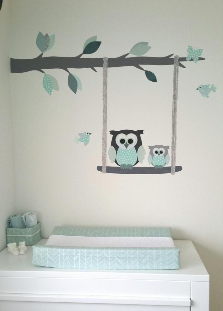 behangtak babykamer behang uil mintgroen