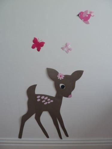 Behangbeest hert babykamer muurdecoratie kinderkamer inrichting handmade behang