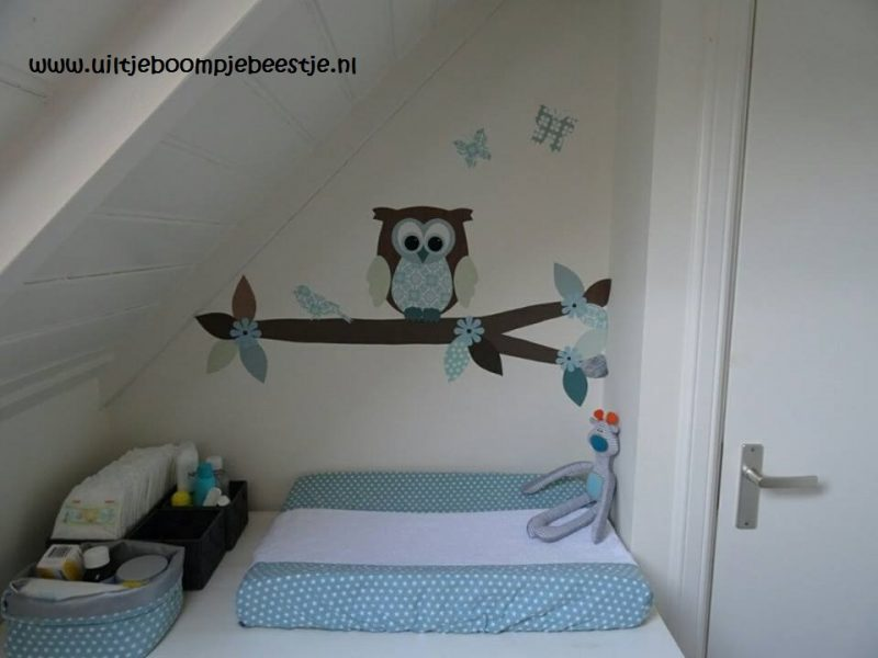Spin muurdecoratie behangboom behangtal uil behang babykamer