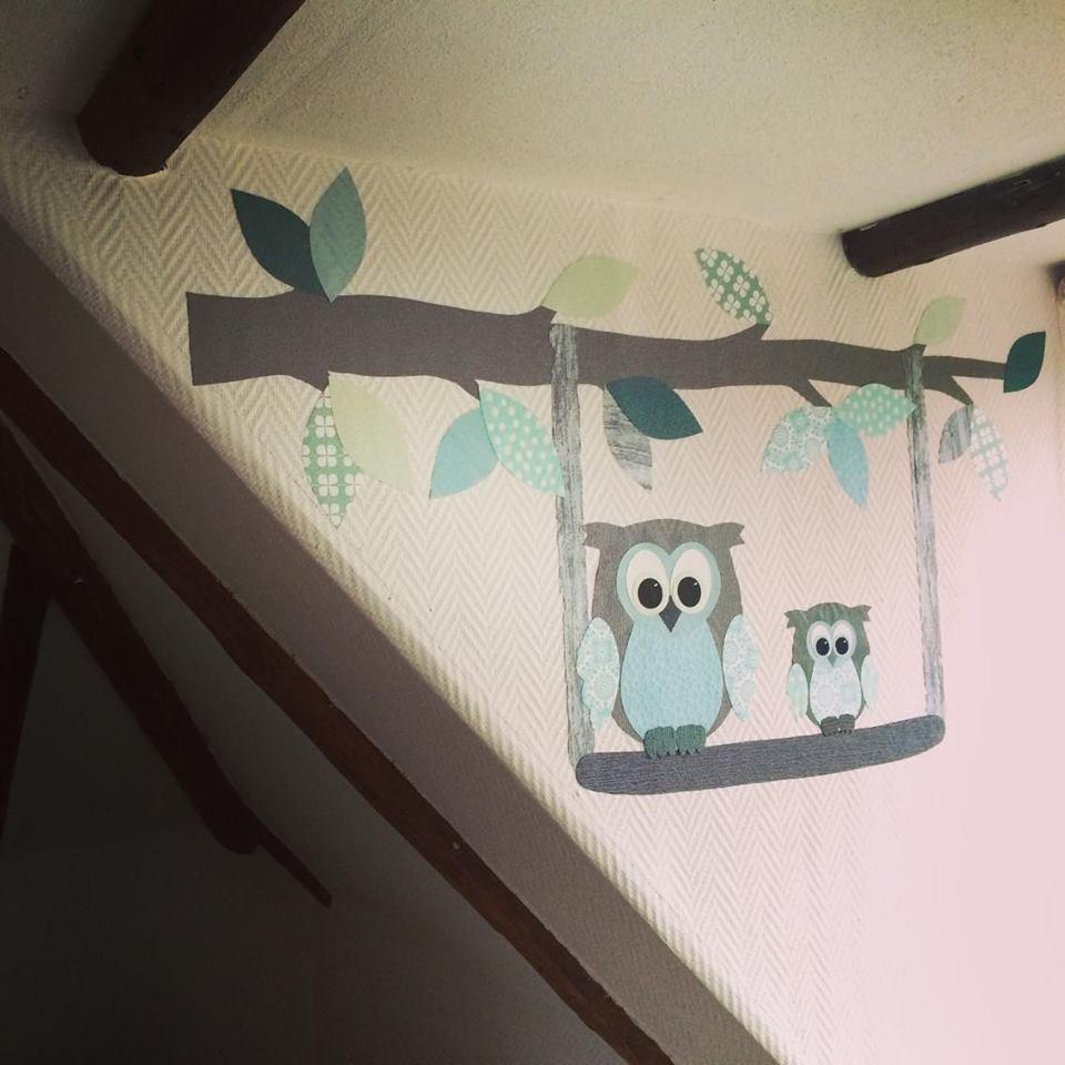 behangtak muurdecoratie babykamer behang mintgroen uilen