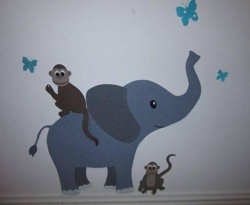 olifant muurdecoratie behang kinderkamer babykamer behang