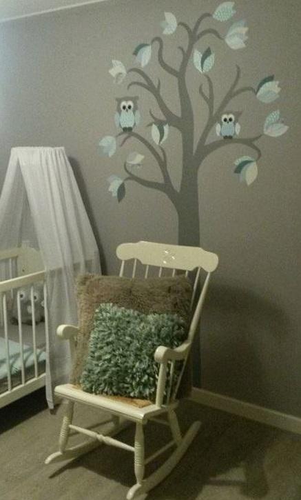behangboom muurdecoratie kinderkamer blikvanger baby uilen behang