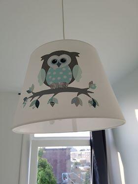 lampenkap decoratie van behang kinderkamer uil aap vlinders muurdecoratie inrichting lamp