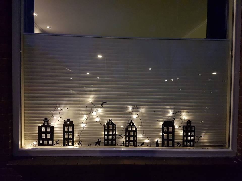 Sinterklaas stickers raamstickers herbruikbaar statisch raamfolie sfeervol feest zwart en wit raamdecoratie