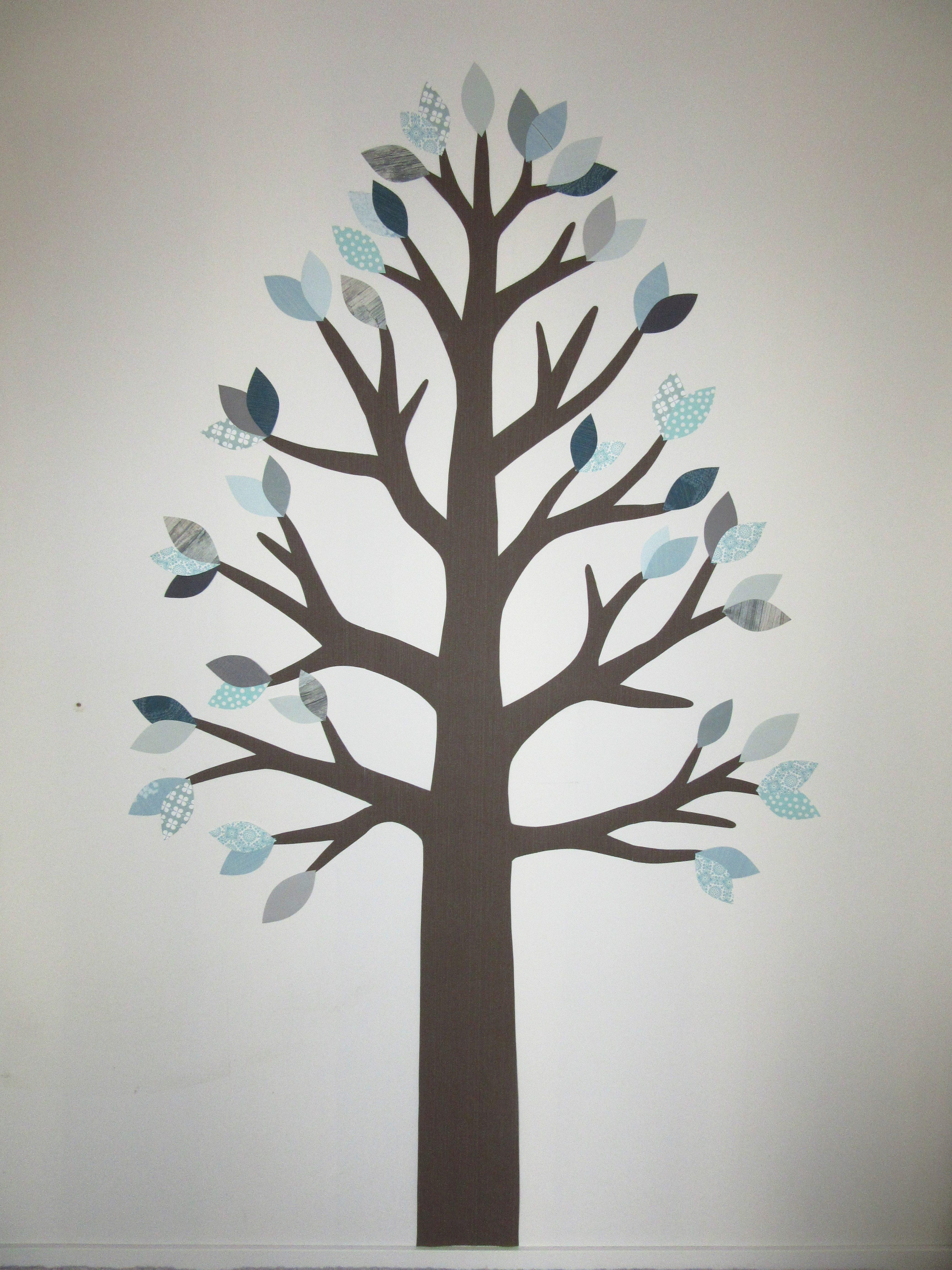 muurdecoratie behangboom babykamer behang mintgroen bos