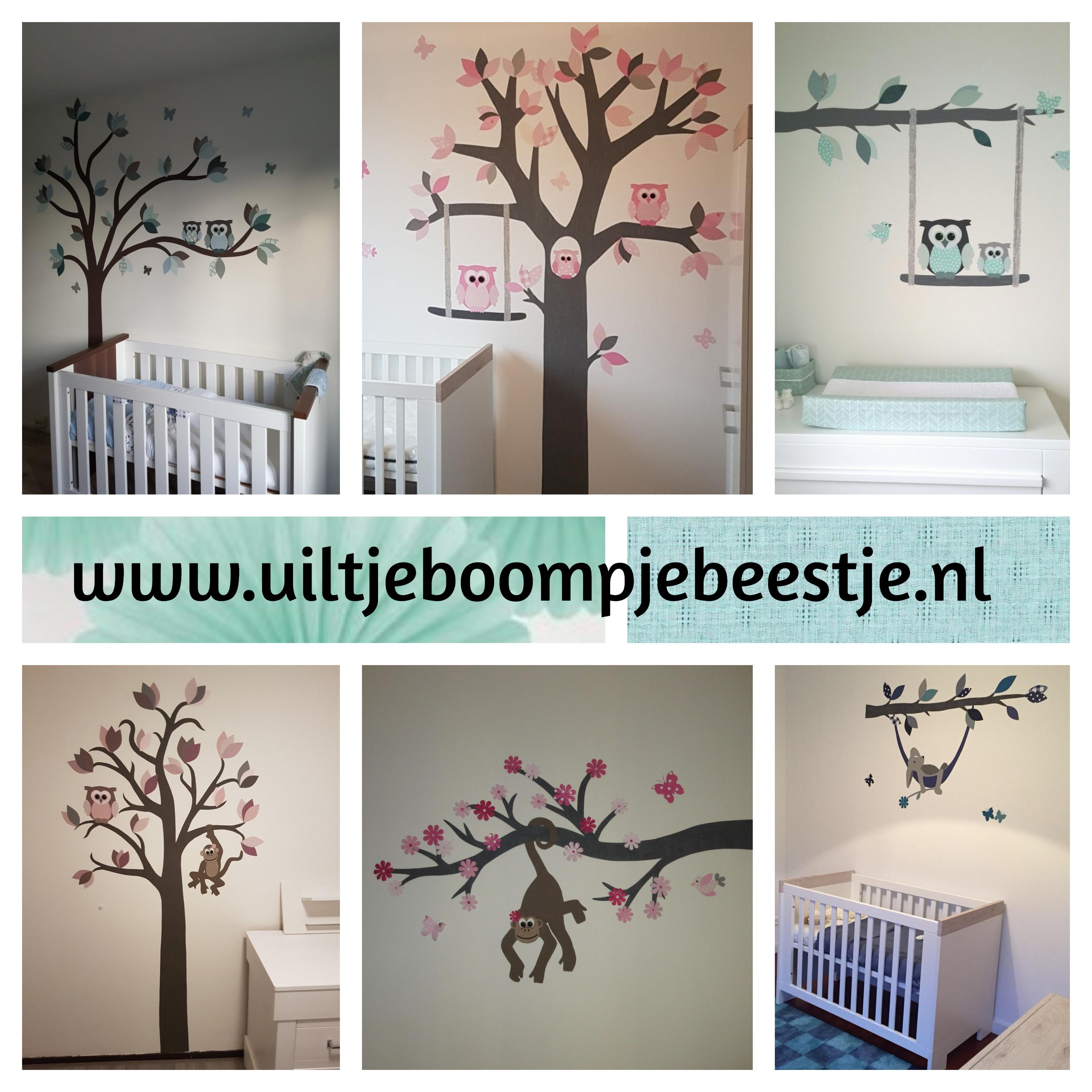 behangdecoratie babykamer kinderkamer behang uilen apen bosdieren behangtak muurdecoratie