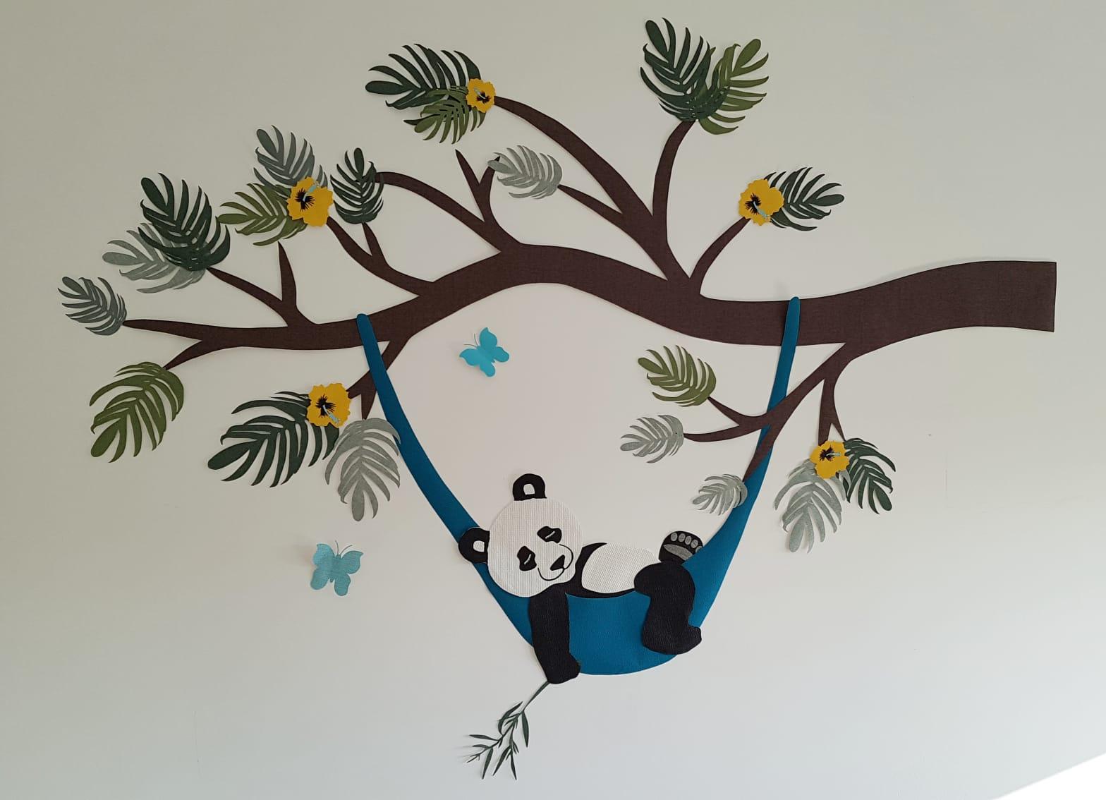 Pandabeer behangdecoratie panda babykamer kinderkamer muurdecoratie hangmat newborn handgemaakt