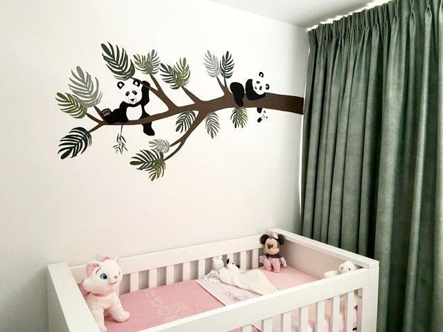 panda behang babykamer oudroze jungle muursticker pandaberen newborn baby