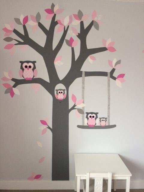 Behangboom met schommel aap behangdecoratie babykamer kinderkamer behangtrend muurdecoratie