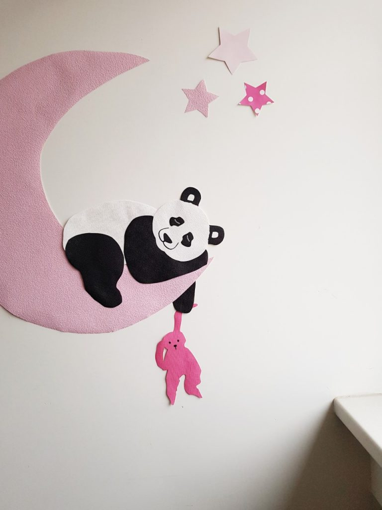 panda kinderkamer behang maan sterren behangdecoratie muursticker