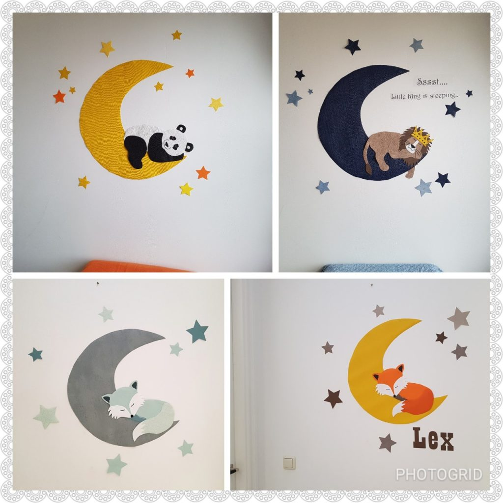 Leeuw behangdecoratie muursticker lion behangbeest babykamer kinderkamer lion king maan sterren behang kroon vos