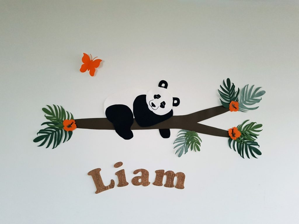panda behangdecoratie muursticker babykamer behang tropisch
