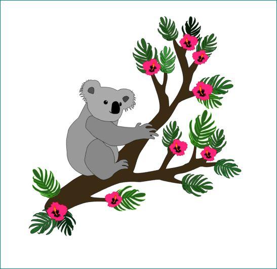 Koala behangtak babykamer koalabeer tropisch blad