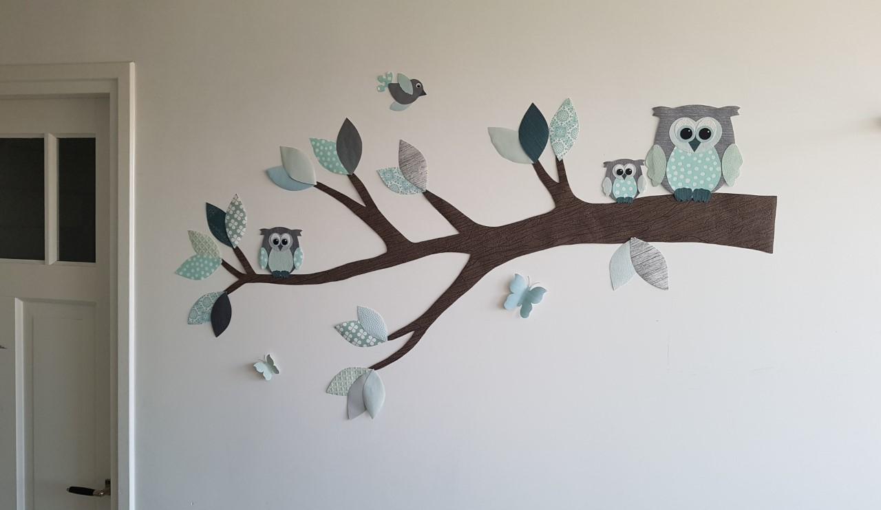 behangtak met uilen muursticker muurdecoratie mintgroen-grijs babykamer aankleding