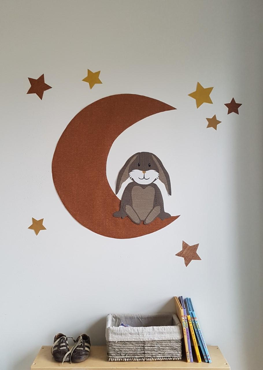 Konijn behangdecoratie muursticker babykamer babykamerinrichting inspiratie behang roestbruin